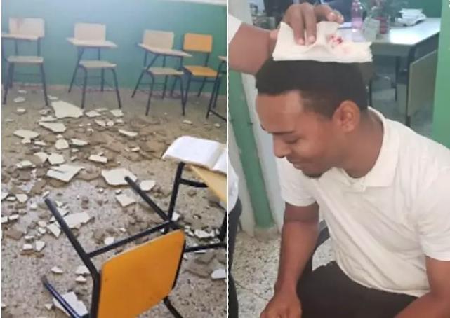 Profesor resulta herido tras desplomarse parte del techo de un aula de escuela en comunidad de Barahona