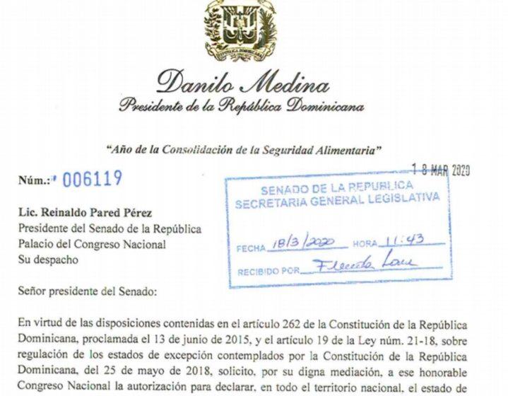Danilo envía a congreso propuesta de declaratoria de Emergencia Nacional.