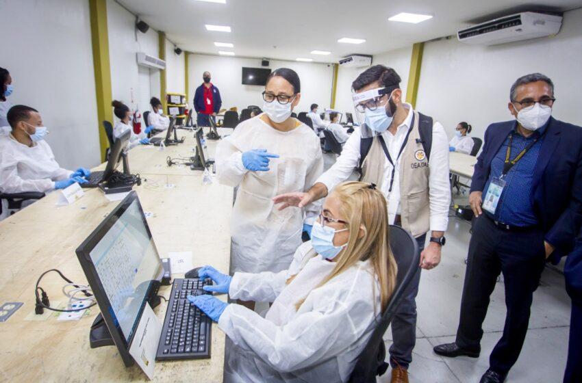 JCE realiza prueba del centro de digitación que dará soporte colegios del exterior